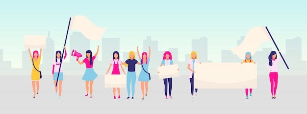 Women empowerment protest flat illustration. feminist demonstration, girl power movement concept. feminism, women rights protection. female activists holding blank placards cartoon characters