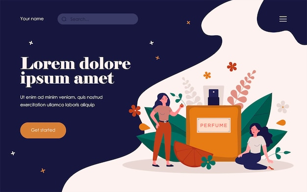 Women enjoying perfume smelling, sitting and standing near spray flask of deodorant with flower fragrance. vector illustration for aroma, perfumery shop, cosmetics concept.