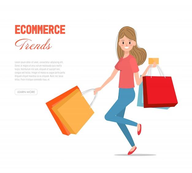 신용 카드로 쇼핑을 즐기는 여자.