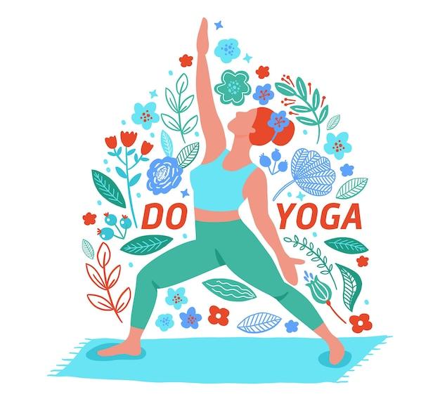 ヨガフラットカラートレンドカードを行使する女性。ヨガ瞑想の練習漫画スタイルを行います。運動トレーニングの背景。健康的なライフスタイルの朝のフィットネス活動の写真。