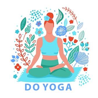 ヨガフラットカラートレンドを行使する女性。ヨガ瞑想の練習漫画スタイルを行います。運動トレーニングの背景。健康的なライフスタイルの朝のフィットネス活動の写真。