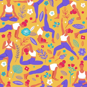Women exercising yoga flat color trend seamless pattern.