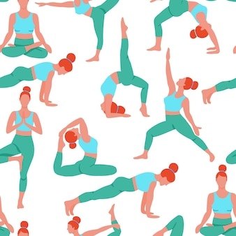 ヨガフラットシームレスパターンを行使する女性。ヨガ瞑想の練習漫画を行う