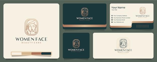 女性の顔、美しさ、エレガント、ミニマリスト、名刺とロゴのデザイン