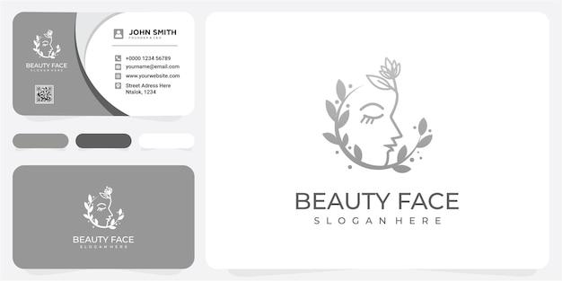 Женское лицо сочетает логотип с цветком и листом для салона красоты, спа, косметики и ухода за кожей