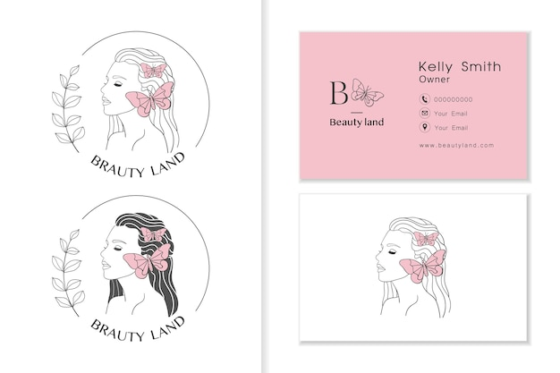 Women face logo with butterfly, feminine logo collections and business card template