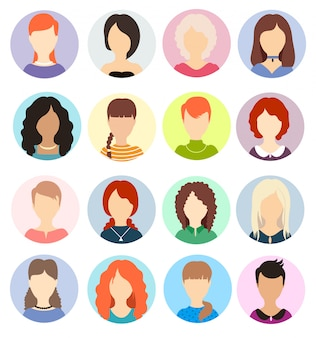 Women faceless avatars. human anonymous portraits, woman round  profile avatar icons, website users head pictures. various hair hairstyles.