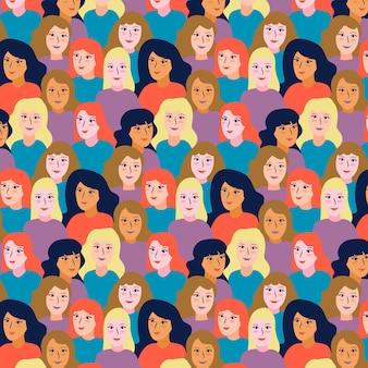 Women faces pattern women's day