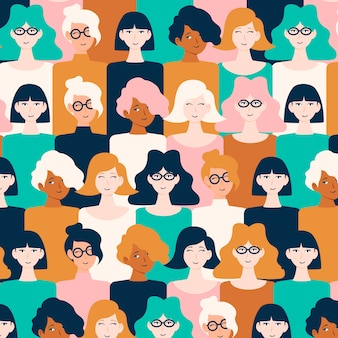 Women faces on pattern for women's day