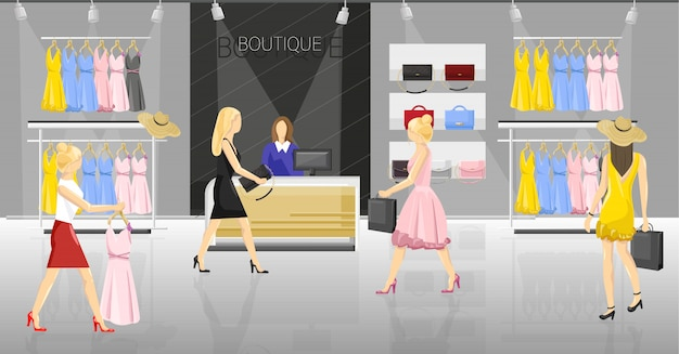 Women in a fancy store. people trying on clothes and accessories illustration