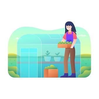 Women farming in a greenhouse
