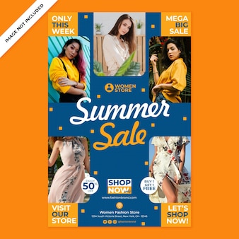 Women fashion promotion poster print template in flat design style