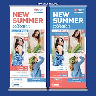 Women fashion promotion roll up banner print template in flat design style