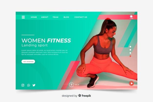 Women fitness sport landing page