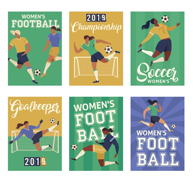 Women football soccer players, set of posters.