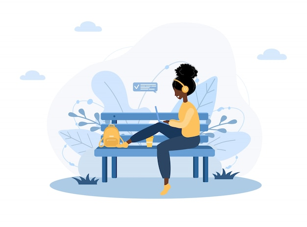 Women freelance. african girl with laptop sitting on bench in park. concept illustration for working outdoors, studying, communication, healthy lifestyle. vector illustration in flat style.
