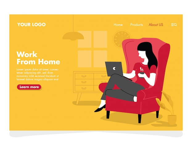 Women freelance illustration for landing page