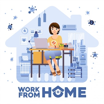 Women freelancer working from home in the living room with room interior as background