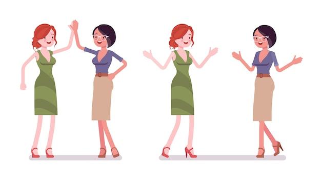 Women friendly greeting in flat design