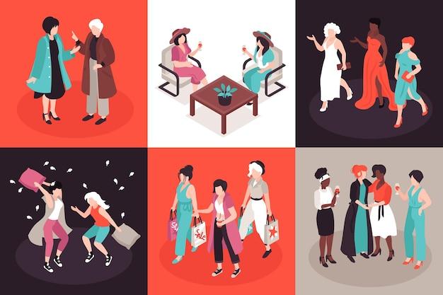 Illustrazione di amici delle donne impostata in vista isometrica