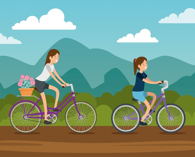 Women friends riding a bicycle