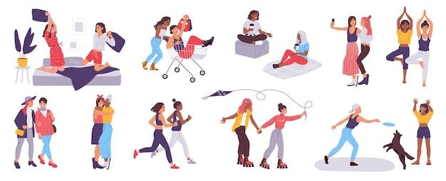 여자 친구는 여성 우정 개념 벡터 세트와 함께 시간을 보냅니다.
