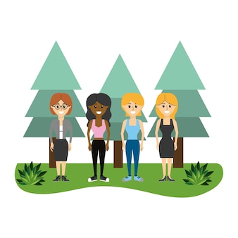 Women friends together with pine trees