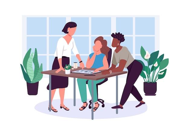 Женская дружба плоских цветных безликих персонажей. подруги. офисные отношения. совместное использование проблем. подруги изолировали иллюстрации шаржа для веб-графического дизайна и анимации