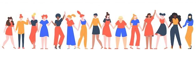女性の友情グループ。多様な女性チームが一緒に立って、手をつないで、女の子の力、多国籍姉妹コミュニティイラスト。友情グループの女性、友人の人々の多様性