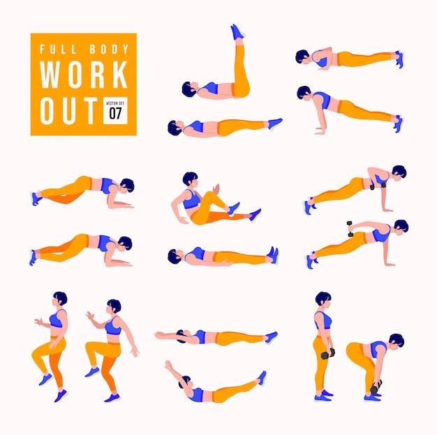 Women full body workout set women doing fitness and yoga exercises
