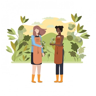 Women gardeners with landscape avatar character