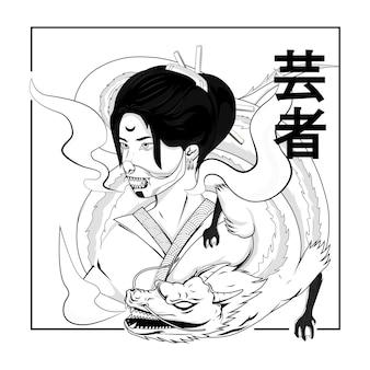 Women geisha black and white illustration for thsirt