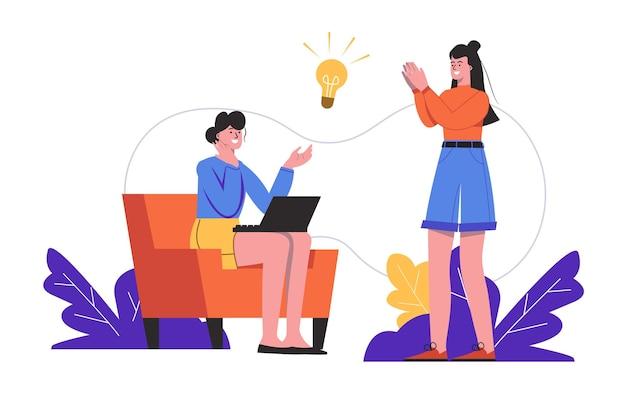 여성들은 아이디어를 만들고 함께 브레인스토밍을 합니다. 성공적인 팀워크, 비즈니스 개발 사람들이 고립된 장면. 혁신과 창의성 사고 개념입니다. 평면 최소한의 디자인의 벡터 일러스트 레이 션