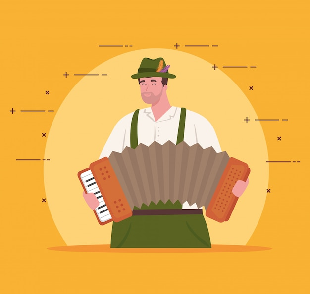 Women german in national dress with accordion, male in traditional bavarian costume vector illustration design