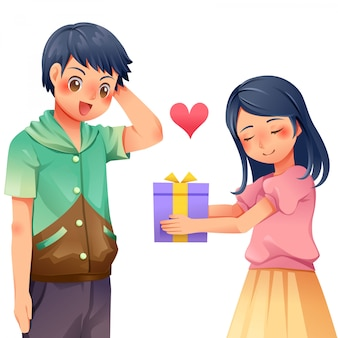 Women give gifts to men character vector