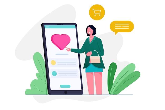 여성은 스마트 폰 일러스트 컨셉의 온라인 쇼핑 앱에 사랑을 전합니다.