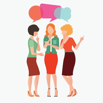 Women gossip with colorful dialog speech bubbles