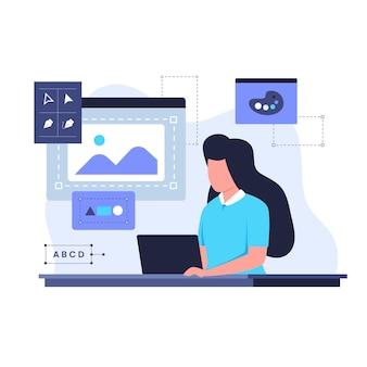 여성 그래픽 디자이너 일러스트레이션 디자인 컨셉입니다. 웹사이트, 방문 페이지, 모바일 애플리케이션, 포스터 및 배너용 일러스트레이션