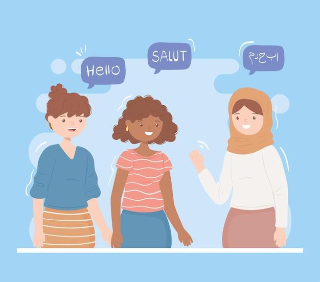 다른 언어로 인사하는 여성