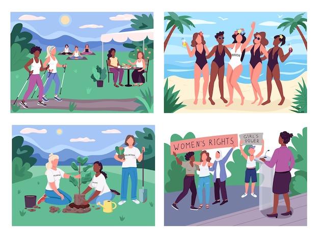 Women group activities flat color illustration set