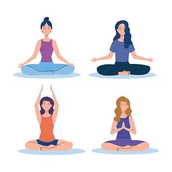 여성 그룹 명상, 요가, 명상, 휴식, 건강한 라이프 스타일에 대한 개념