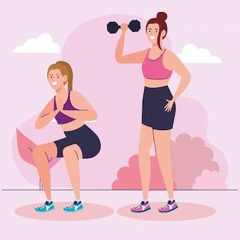 여성 그룹 연습 운동 야외, 스포츠 레크리에이션 운동