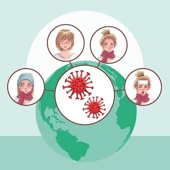 Women group with coronavirus scene
