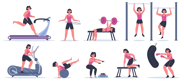 Women at gym. female sport fitness character, workout girl run, pull up and squat, training exercise at sport gym  illustration set. woman exercise training, athletic female with dumbbell