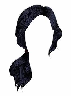 Женские волосы черного цвета. хвост.