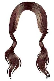 女性の髪のブルネット2つのピグテール。