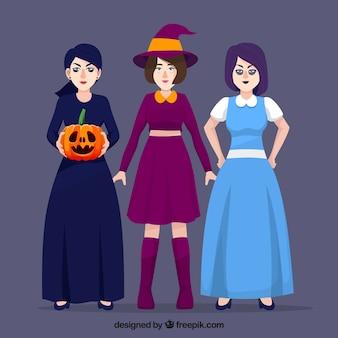 女性ハロウィンの装飾