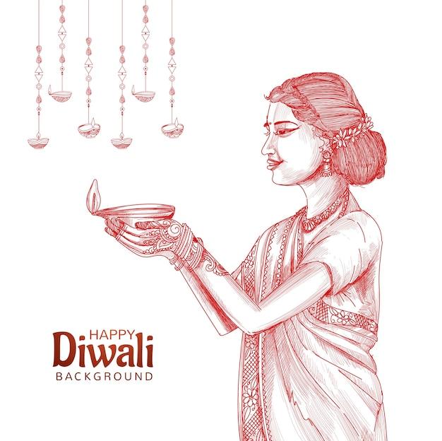 インドの石油ランプディワリの背景のスケッチを持っている女性