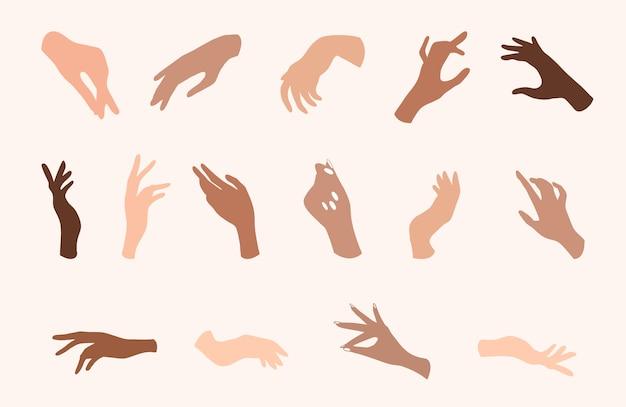 Женщины рука иконы. элегантные женские руки разных жестов.