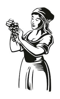 女性はブドウ園でブドウを収穫します黒のヴィンテージベクトル彫刻